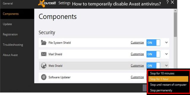 How Do I Turn Off or Stop Avast  Behavior Shield