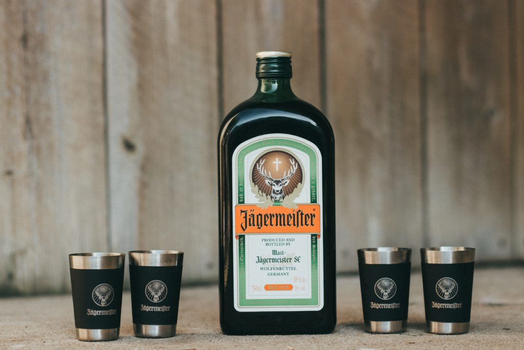 Jagermeister bottle with glasses