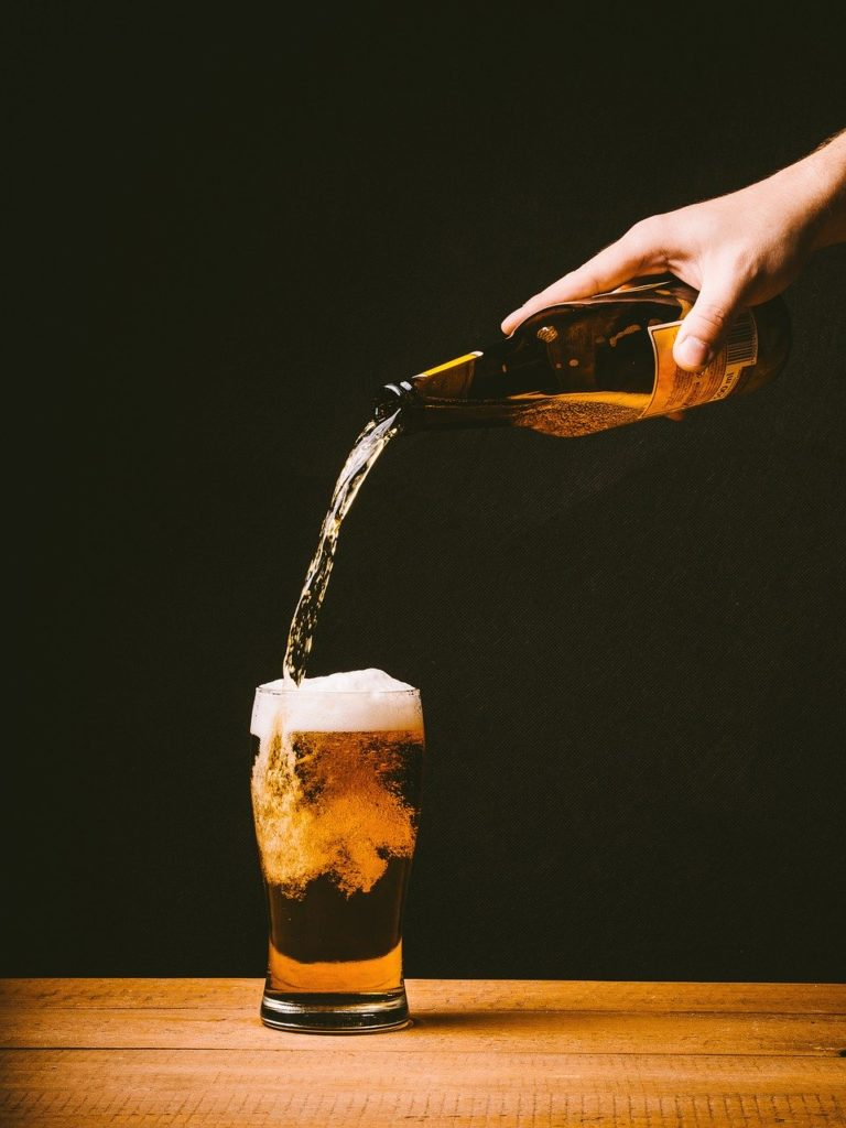 In which beer do the bubbles sink to the bottom rather than float